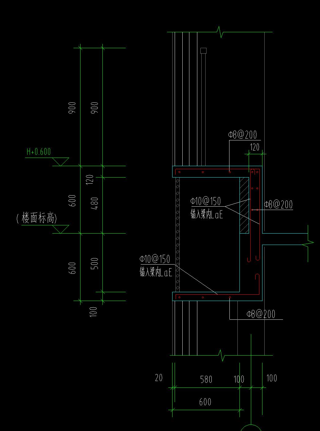飘窗的钢筋结构图