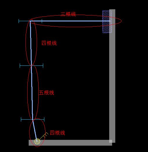 从截图最上面灯到第二个灯为2根线,从第二个等到最下面灯为3根线,从下面灯到开关为4根线计算。前提是照明线路图纸按2根线设计,如是3根线时均要增加一根。 线管就算一根长度,不过要根据设计要求的管径分开算量。 设计按三根线考虑的话,从电箱接出来的到开关的长度是按照这个线测量出来*3,开关到各灯的导线按最上面灯到第二个灯为3根线,从第二个等到最下面灯为4根线,从下面灯到开关为5根线计算。