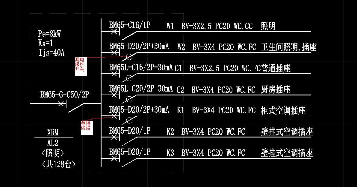 Pe额定功率;Kx同时因数,最大为一;cos是功率因数;Ijs是计算额定电流。断路器带有小圆圈的代表是带有漏电保护的断路器,漏电动作电流不大于30mA。1P/2P是一级二级的意思。SC穿钢管PC穿塑料管;WC沿地墙暗敷,FC沿地板暗敷,CC沿吊顶暗敷。XRM是表示配电箱。那个D20的开关表示是微型断路器。ZBN BV 同心BV线,阻燃耐火特性。我只能帮你到这了,在学校学的。出来都快忘了,其他的就不知道了。
