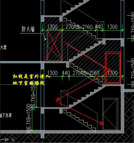 设计有上矛盾,从设计平面图看,大堂入楼梯是不能进入地下室的