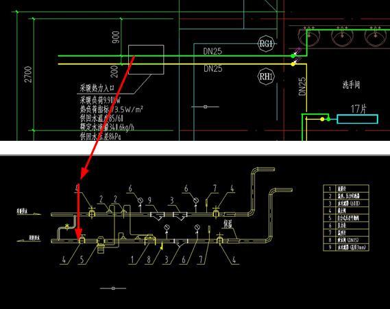 采暖热力入��f_这个图需要计算到采暖热力入口处的第一个阀门处的.