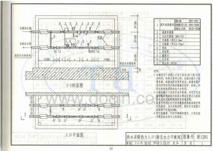 采暖热力入��f_12n1采暖图集的13页热力入口的图集