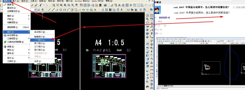 cad2007中总图两半设置,取消中间那条线cad中界面比例分成图纸图片