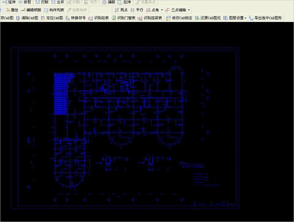 吧CAD图梁.板.柱.轴.网分开识别-广联达服15米长别墅图纸米宽68图片