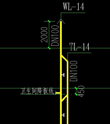 图纸管立管为DN100,污水上标出没有支管通常拼的豆图纸图片