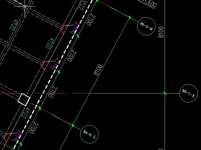 导图后,CAD里的斜轴线与广联达已布置的陶瓷图纸板滤图片