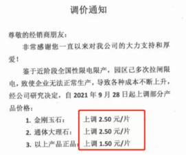 陶瓷漲價,部分產品一次性漲幅達10%【轉】